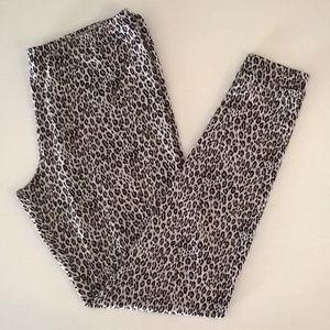 cuddle duds pants womens animal print leggings L